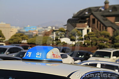 Seoul taxi on the street Editorial Image