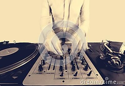 Sepai halftone image of a funky female dj