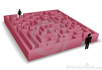 Separation maze puzzles man woman people symbols