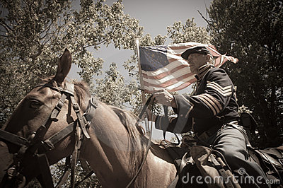 Sepia calvary soldier civil war reenactment Editorial Photography