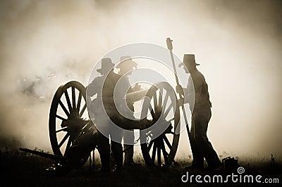 Sepia Cannon crew in battlefield Editorial Image