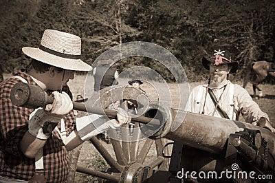Sepia Cannon crew loading cannon Editorial Stock Image
