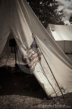 Sepia Civil War Camp with American Flag