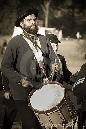 Sepia civil war union soldier drummer Editorial Image
