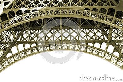 Sepia Eiffel Tower Detail in Paris France