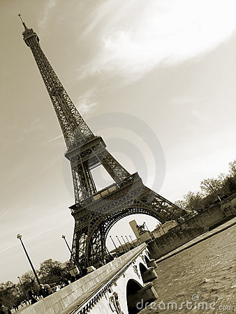 Sepia Eiffel Tower in Paris, France