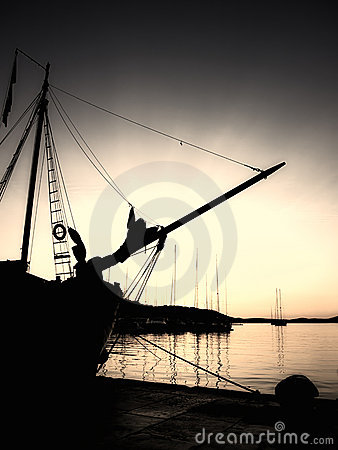 Sepia nautical sunset