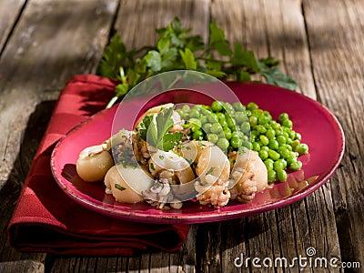 Sepia with peas