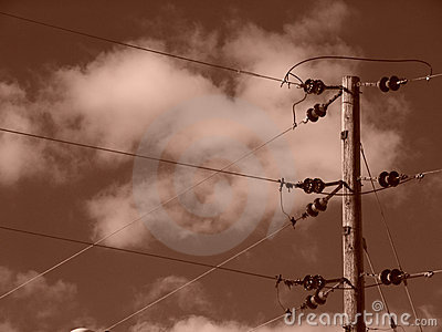 Sepia Power Lines With CLouds
