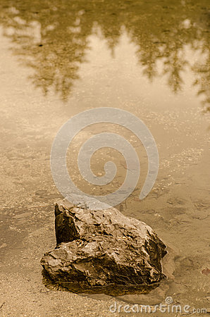 Sepia tinted rock in the water of a lake