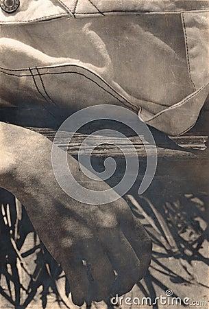 Sepia Tone Hanging Hand