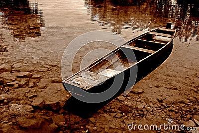 Sepia toned boat