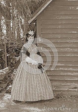 Sepia toned civil war woman
