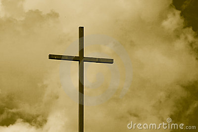 Sepia Toned Cross Sky