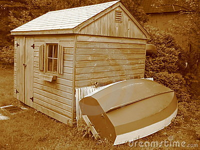 Sepia Toolshed with Boat