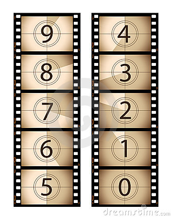 Sepia vertical film countdown