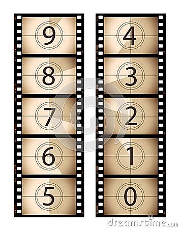 Sepia vertical film countdown