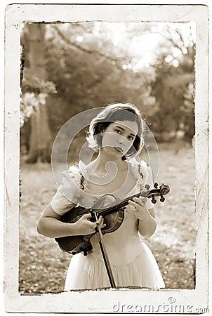 Sepia Violin Girl Antique Post