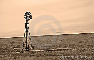 Sepia Windmill on the Windy Plains