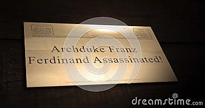 Sepiowe stare telegrama teksta serie - Archduke Franz Ferdinand Mordował zbiory wideo
