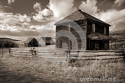 Seppia Tone Photograph del ranch del fantasma in Dallas Divide vicino a Ouray Colorado