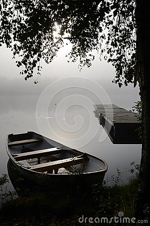 September s foggy lake view