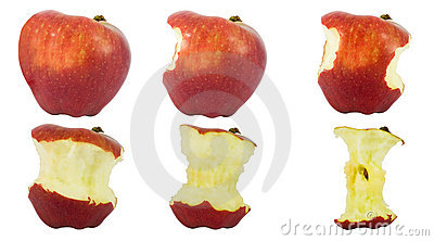Sequence of an apple being eaten