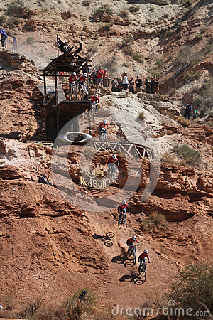 Sequence of mountain biker cliff drop Editorial Image