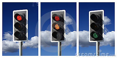 Sequence of red amber green traffic lights