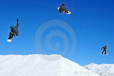 Sequence of snowboarder jumping