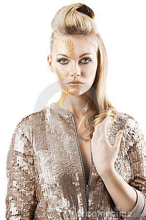 The sequin glittering creative make up girl,