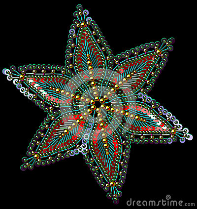 Sequins and Beads Multicolored Snowflakes. Vector Illustration