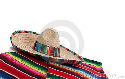 Serape and sombrero on white with copy space