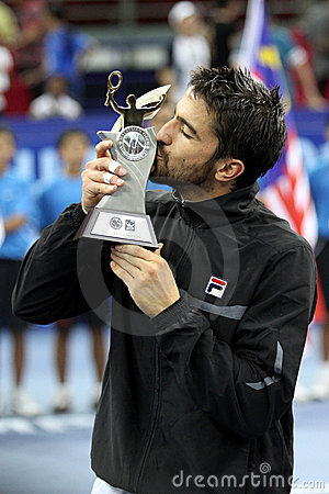 Serbia s Janko Tipsarevic kiss his trophy Editorial Stock Image