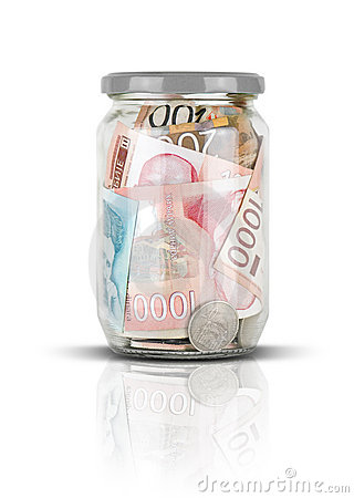Serbian money in jar