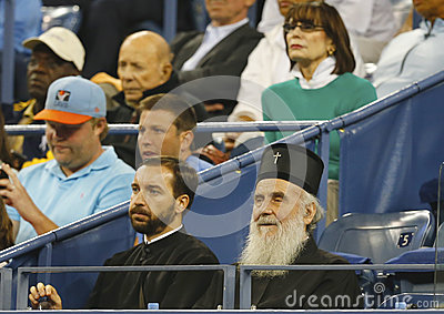 Serbian Orthodox Church Patriarch Irinej Gavrilovic at Billie Jean King National Tennis Center during match at US Open 2013 Editorial Stock Image