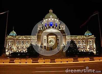 Serbian parliament building - night scene
