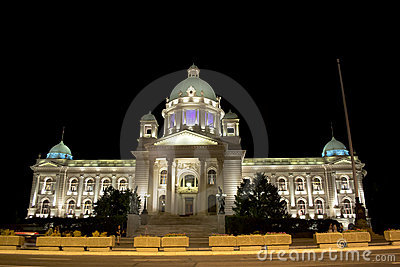Serbian parliament at night