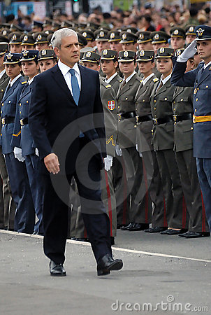 Serbian president,B.Tadic observe new officers-1 Editorial Photography