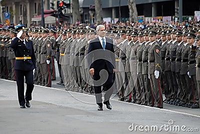 Serbian president B.Tadic observe new officers Editorial Image