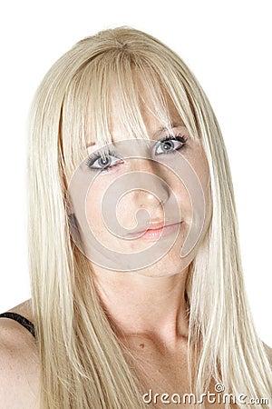 Serene blonde woman