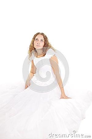 Serene bride looking up