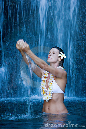 serene peaceful woman waterfall