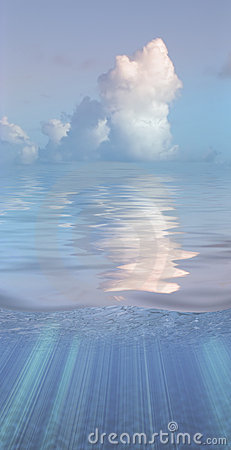Serene water and clouds