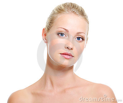 Serene woman with healthy skin and beauty