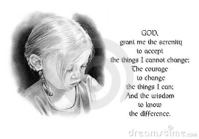 Serenity Prayer with Pencil Drawing of Girl