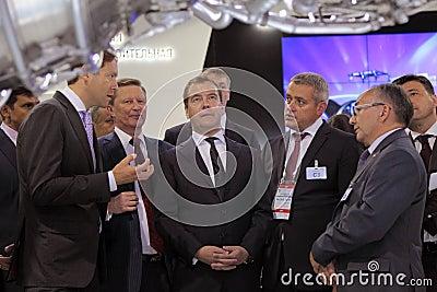 Sergei Ivanov, Dmitry Medvedev and Vladislav Masal Editorial Photo