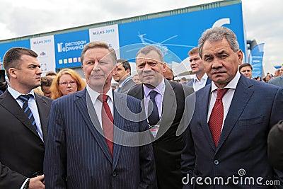 Sergei Ivanov, Yuri Borisov and Sergey Shoygu Editorial Image