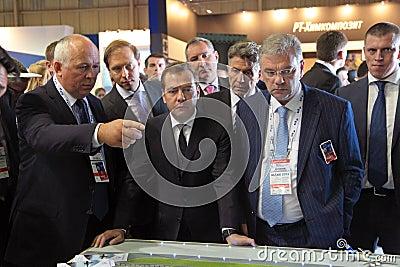 Sergey Chemezov, Dmitry Medvedev and Dmitry Shugae Editorial Photography