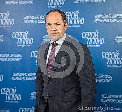 Sergey Tigipko at a press conference devoted to the presidential Editorial Stock Photo
